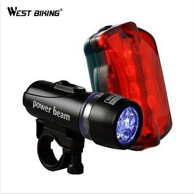 WEST BIKING LED Light Bike Head Flash Front Light Torch Night Rear Flashlight Warning Cycling Bicycle 5 LED Lamp Light