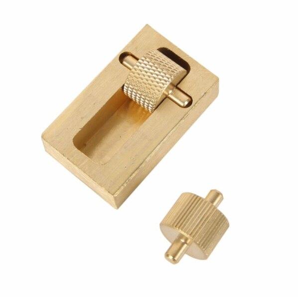 DIY latón 40*25*10mm herramienta de artesanía de cuero profesional pintura al óleo caja y 2 manualidades herramientas de costura conjuntos