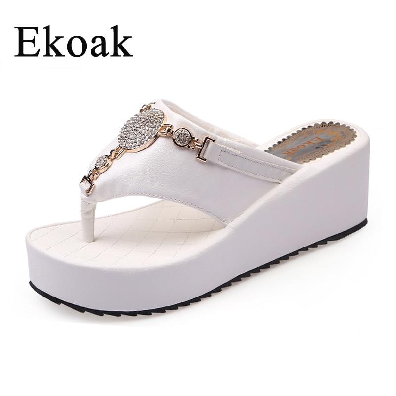 Ekoak New Fashion Women Flip Flops Summer Wedges Platform Shoes Woman Sandals Ladies Sexy Crystal Beach Slippers flip flops