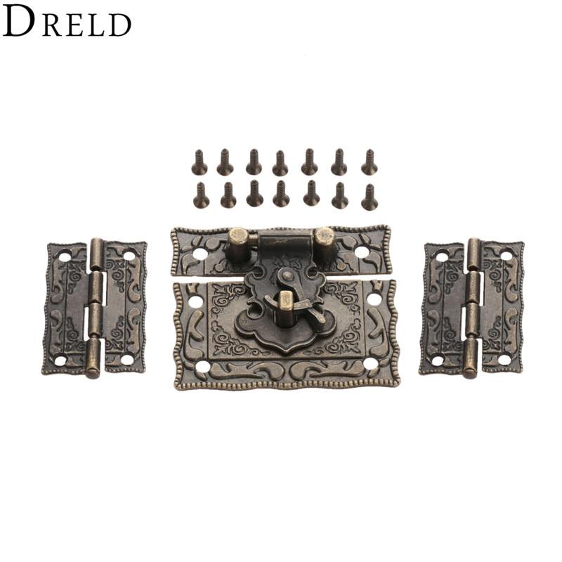 DRELD 2 יחידות מזוודת ארון ציר + 1 pc עתיק ברונזה תכשיטי עץ תיבת תפס וו אבזם בציר חומרת רהיטים אבזרים