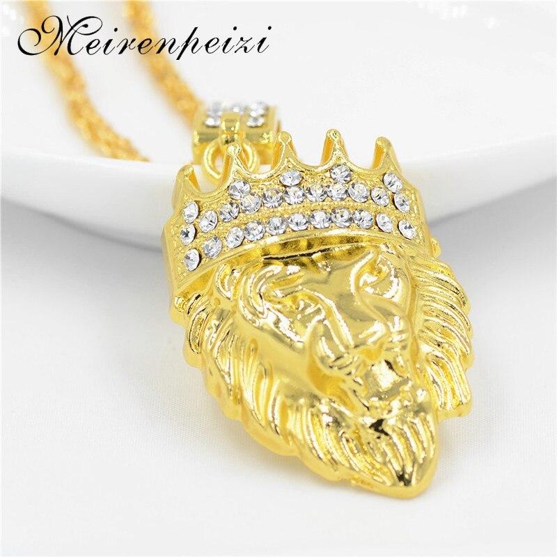 Popular logo corona León cabeza hiphop accesorios collar joyería buena calidad grueso chapado en oro colgante