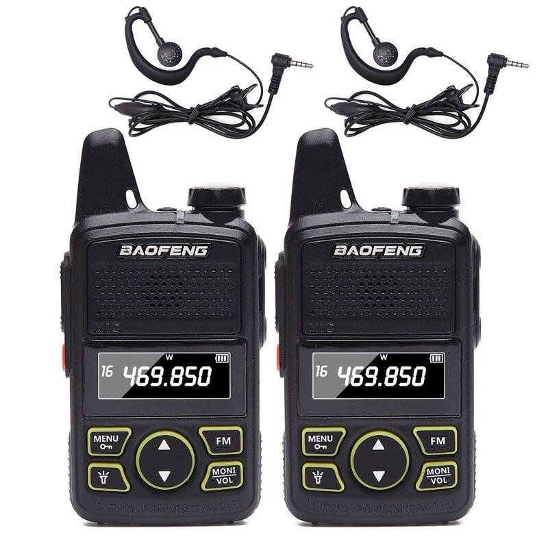 2pcs BAOFENG BF-T1 MINI Two Way Radio Easy To Carry UHF 400-470mhz 20CH BFT1 Handheld Walkie Talkie BF T1 Ham Radio + Headset