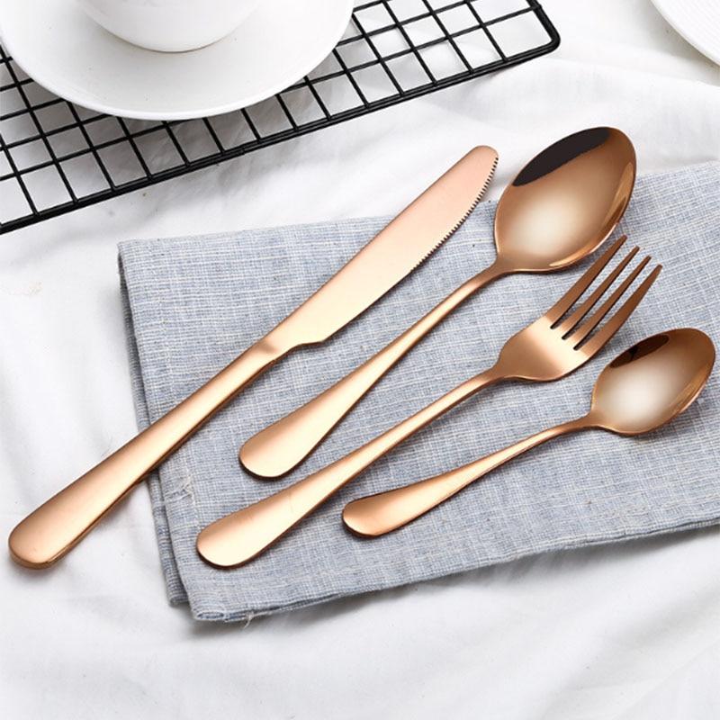 أدوات مائدة ذهبية من الفولاذ المقاوم للصدأ ، أدوات مائدة للمطاعم والمطبخ المنزلي ، خدمة مع شوكة وملعقة عشاء وسكين