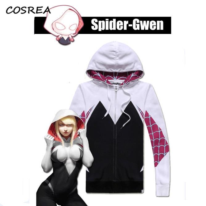 Gwen stacy hoodie aranha gwen spider-gwen zíper moletom com capuz camisolas cosplay dia das bruxas meninas hoodies casaco superior