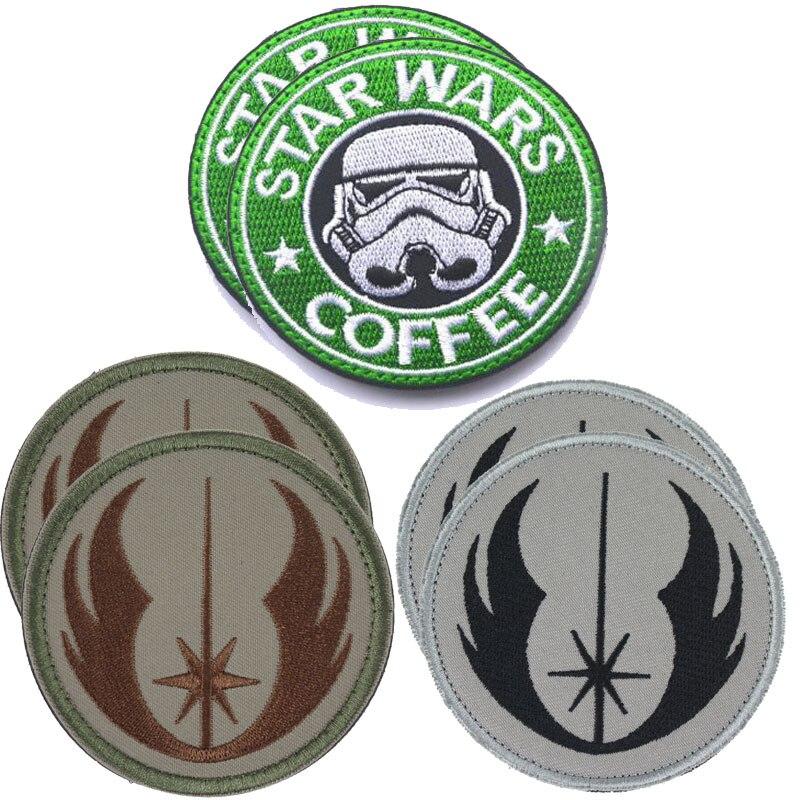 Paquete de 6 piezas de parches de Star Wars bordados en 3D, parches militares de star wars Para café, insignias para prendas de vestir con gancho y lazo