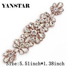 YANSTAR (10pcs)Wholesale 14*5CM Bridal Sash Rose Gold Crystal Rhinestones Appliques Accessory For Bridal Gown Belt YS982