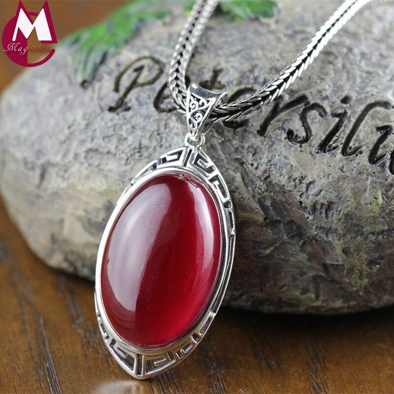 Joyería de piedras preciosas grandes 20mm * 30mm ovalado rubí rojo colgante Vintage diseño hueco Plata de Ley 925 auténtica collar mujeres RP01