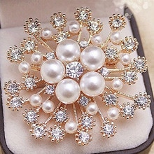 LNRRABC 1 Uds gran oferta mujer señora moda encantador copo de nieve imitación perlas diamantes de imitación cristal boda broche Pin de fiesta