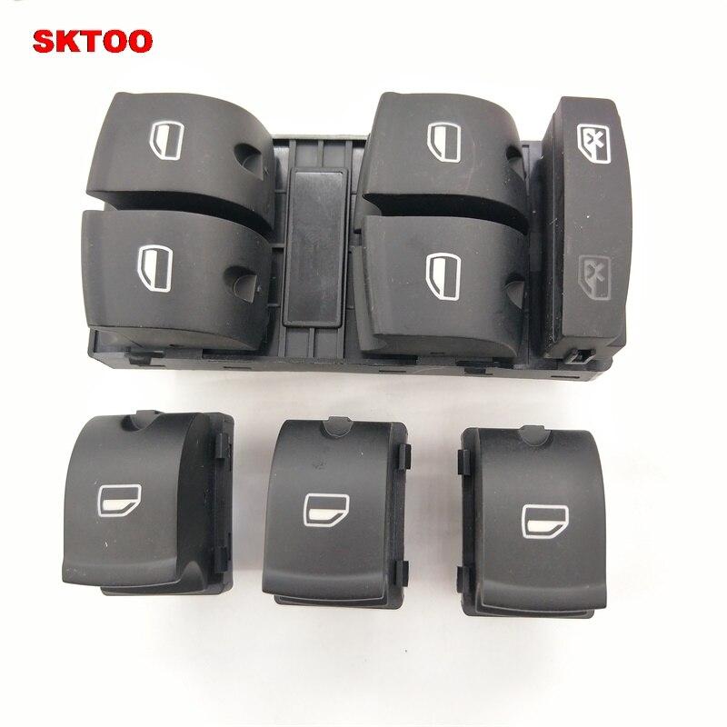 SKTOO  4F0 959 855//4F0959851 New high quality Window Control Switch for AUDI 2005-2012 A3 A6 S6 C6 Allroad Q7 RS6  4Pcs