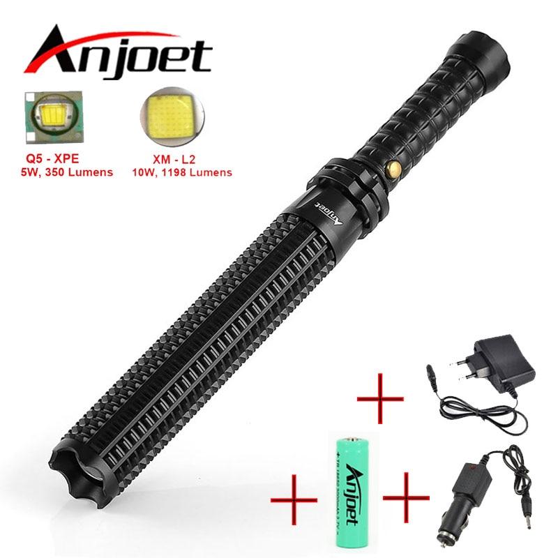Anjoet бейсбольная летучая мышь Mace Shaped XML L2 светодиодный фонарик, масштабируемый для безопасности и самообороны, ультра яркий фонарик-бэтон ...