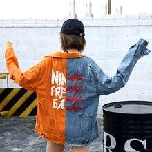 Весна-Осень 2018, новая джинсовая куртка в стиле хип-хоп с длинным рукавом, синий и оранжевый цвета, в стиле пэчворк, потертые джинсы, стильное ...