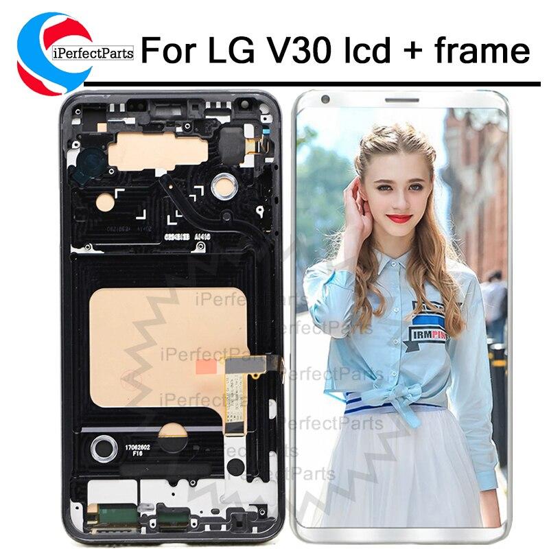 "6,0 ""para LG V30 LCD Digitalizador de pantalla táctil + montaje de marco para LG V30 LCD VS996 LS998U H933 LS998U H930 LCD"