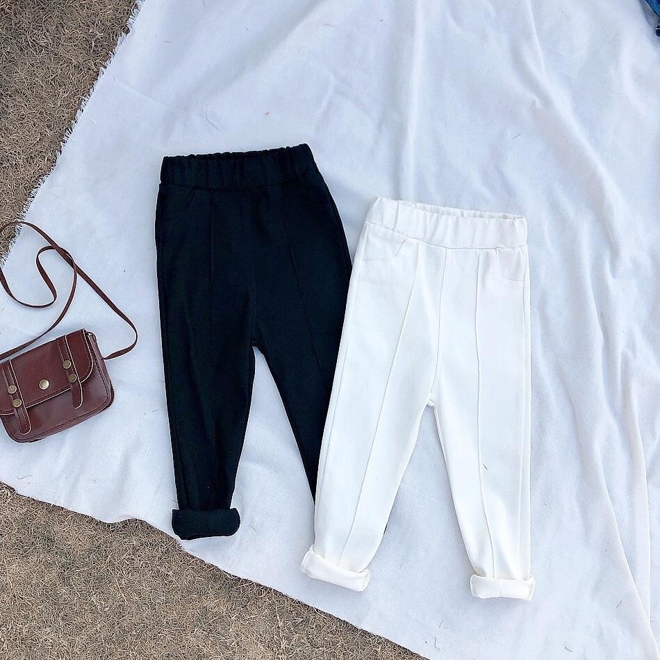 2019 nova primavera e outono de algodão estilo coreano design magro calças leggings do bebê crianças branco e preto calças do bebê meninas calças