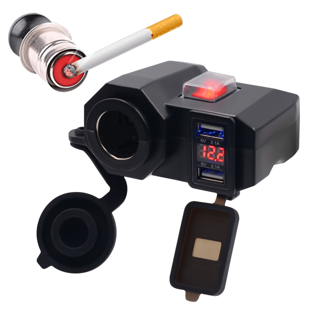 Impermeable 12V motocicleta Dual USB cargador encendedor de cigarrillos con voltímetro LED