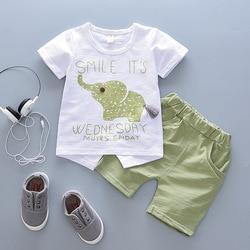 Bebê menino roupas 2018 moda verão marca infantil roupas elefante manga curta t-shirts topos listrado calças crianças jogging ternos