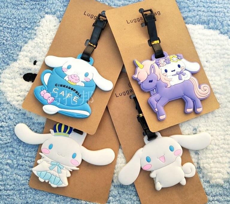 Cinnamoroll perro Anime accesorios de viaje equipaje etiqueta maleta Dirección de identificación Portable etiquetas titular etiqueta de equipaje nuevo