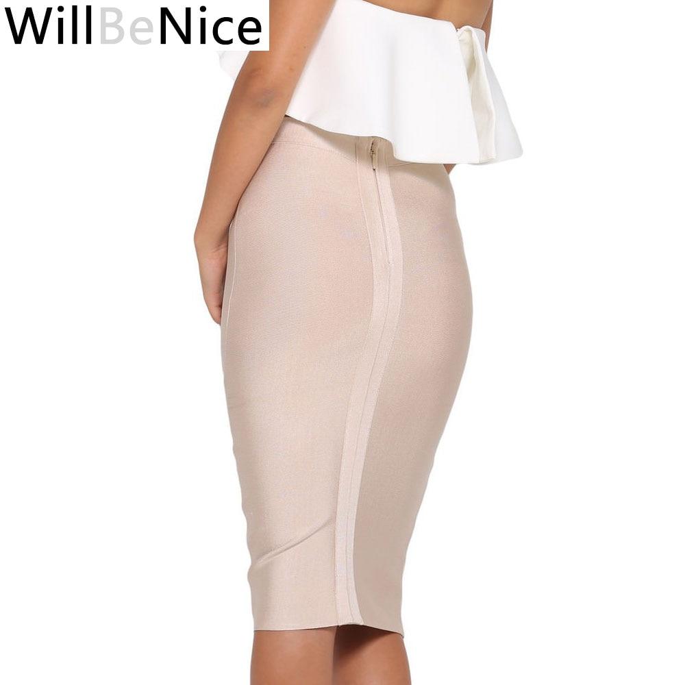 Willbenice Sexy Bandage Nude Purple White Bodycon Bandage Womens Knee Length Hot Pink Fuchia Black Pencil Skirts