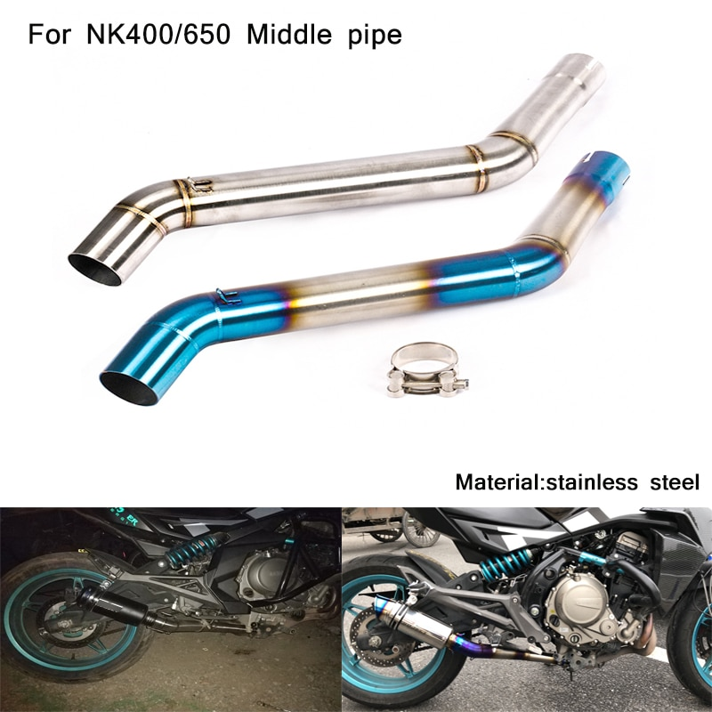 Silp on for CFMOTO NK400 NK650 Motorcycle Stainless Steel Middle Connecting Pipe Modified 51mm Header Exhaust System
