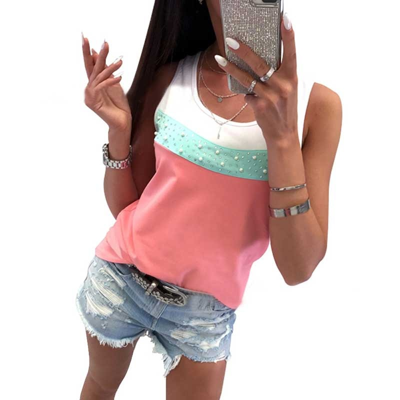 T-shirt frauen 2020 mode neue ankunft heißer sommer stil Europa bohrer nagel perle farbe patchwork weste t-shirt rosa gelb grün