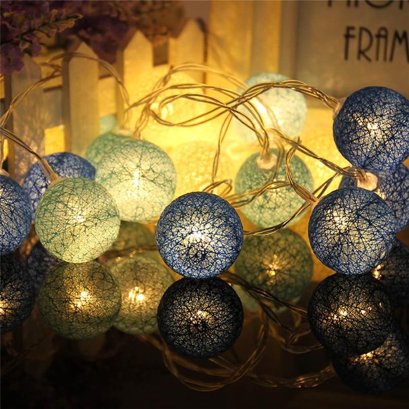 1.3 m 10led algodão bola bateria string luz feriado para festa de casamento decoração luzes de natal 30ap0