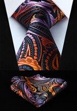 Cravate tissée en soie pour hommes   Motif Floral, Orange, rose, 3.4 pouces, ensemble mouchoir