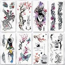 Tatuagem temporária etiqueta à prova dwaterproof água moda feminina japonês gueixa guerreiro samurai falso corpo arte crianças adulto mão tatuagem