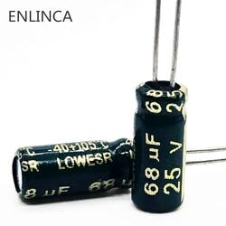 6 pçs/lote T03 25V 68UF Low ESR/Impedância de alta freqüência capacitor eletrolítico de alumínio tamanho 5*11 68UF25V 20%