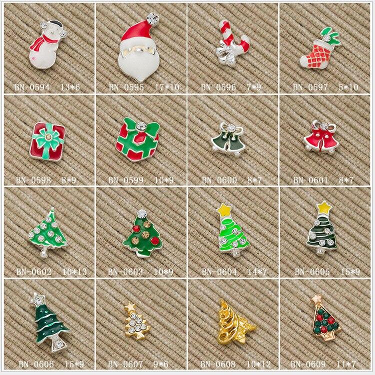 100pcs Alloy Nail Art Decorations 3d Charm Glitter Christmas Design Rhinestone Nail Tools Christmas Tree/Bell/Santa Claus