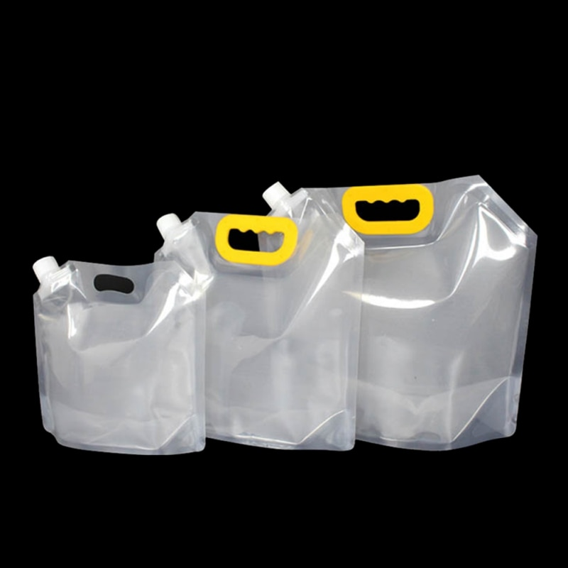 Kit de Petaca de bolsa de líquido de agua cubierta portátil reutilizable bolsa de embalaje de cerveza de fabricación automática con mango de boquilla de succión de vino 1,5 /2,5/5L