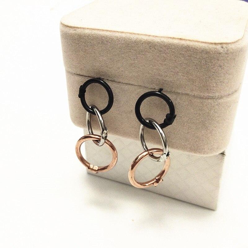 Модные маленькие серьги-гвоздики цвета розового золота черные из нержавеющей стали круглые три круга серьги в виде медведя ювелирные изделия для женщин