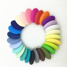 HOT Silicone Loose  Beads For Silicone Necklace DIY Silicone Teething Necklace Silicone flat oval Be