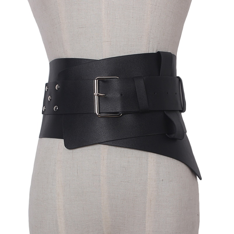 New Women ultra Plus wide belt accessories Faux Leather Elastic corset Belt Front Metal buckle Waist belt Girl Clothe Decoration