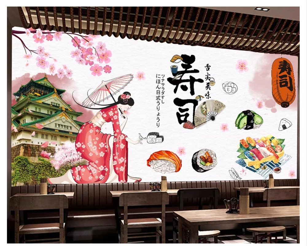 beibehang Custom wall papers home decor formaldehyde-free personalized decorative painting wallpaper sushi restaurant background beibehang formaldehyde free classic wall paper embossed lotus vintage watercolor lotus leaf porch decorative painting wallpaper