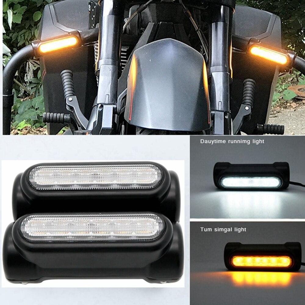 2 piezas Marlaa Barra de carretera de motocicleta interruptor de giro de señal de luz blanca ámbar LED para barras de choque para modelos de turismo Victoria
