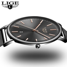 LIGE New Fashion Black Women Watches 2019 High Quality Ultra Thin Quartz Watch Woman Elegant Dress Ladies Watch Relogio Feminino