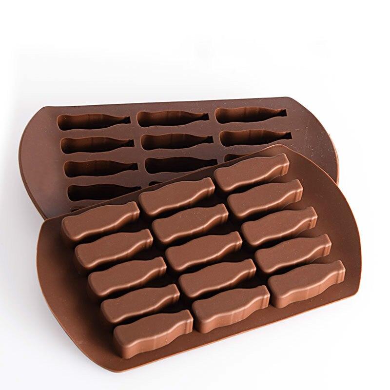 Molde de silicona para hornear pasteles de Chocolate molde de celosía de hielo molde de caramelo, flan molde de hielo DIY gelatina 15 botellas de coque