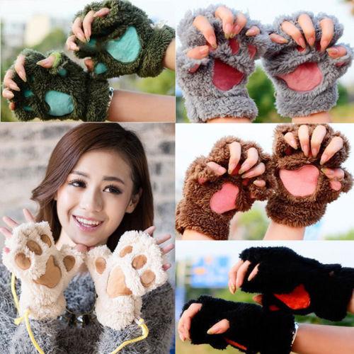 Winter Women Cute Cat Paw Claw Plush Mittens Short Fingerless Finger Half Gloves