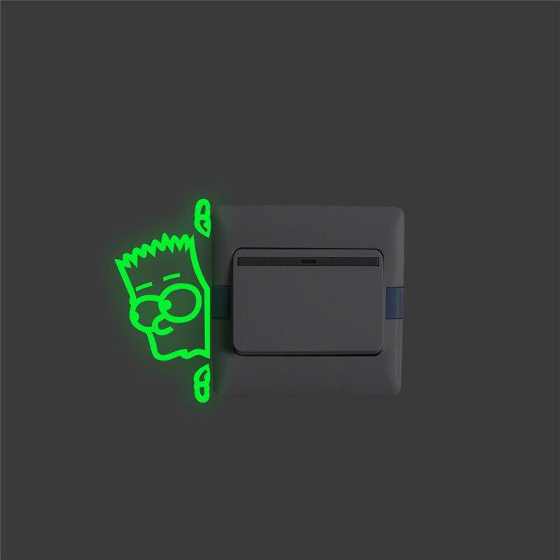 Pegatinas de panel de interruptor luminoso, pegatinas de pared que brillan en la oscuridad, decoración fluorescente para el hogar y el dormitorio, arte mural de vinilo