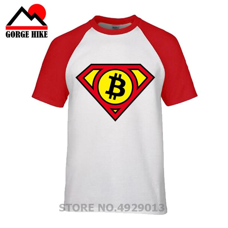 Comic SUPER Bitcoin HERO LOGO design fasion t shirt men comfortable tshirt homme casual plus size T-Shirt no glue feeling print