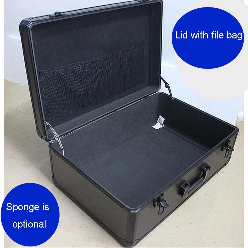 صندوق أدوات كبير المحمولة صندوق أدوات سبائك الألومنيوم صندوق تخزين وثيقة آمنة المنتج مظاهرة عينة عرض الأدوات