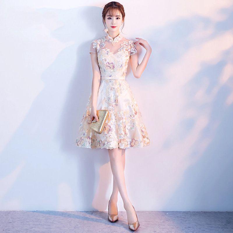 Qipao corto de encaje para mujer, vestido de noche chino, flor, Cheongsam, novia, M-XXXL, novedad de 2019