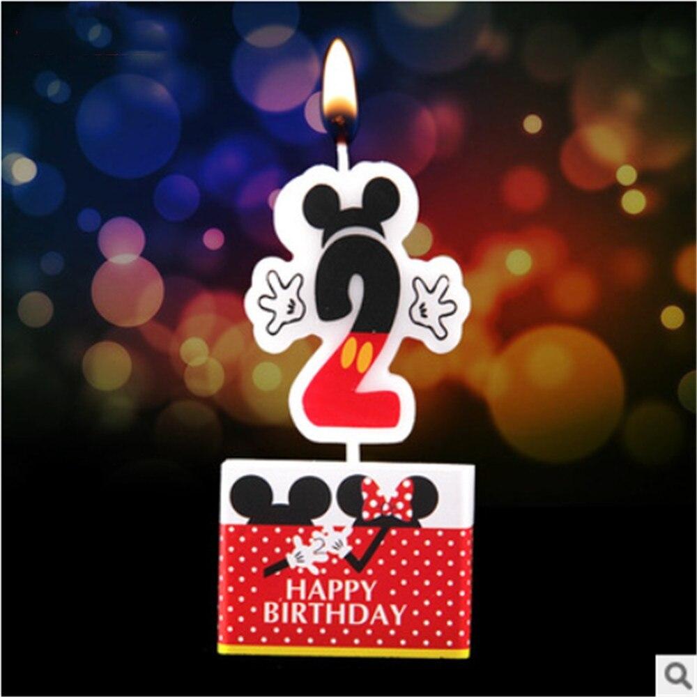 Vela de fiesta sobre Mickey Mouse, vela para pastel de cumpleaños, suministros de fiesta, números para tarta de aniversario, vela de edad, decoración para fiesta de bienvenida de bebé