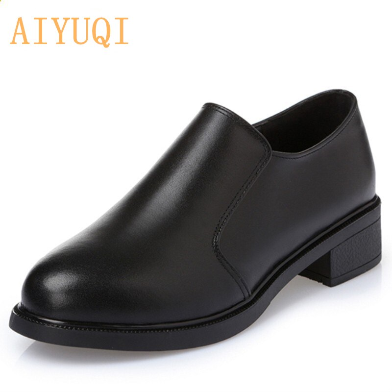 weideng new autumn solid color genuine leather platform breathable leisure white and black comfortable 2017 loafers women shoes Shoes Women 2021 Autumn Genuine Leather Women Shoes Professional Business Dress Ladies Shoes 43 Comfortable Breathable Leisure