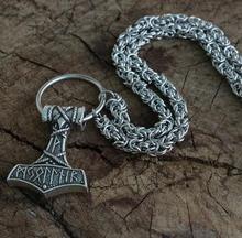 lanseis 1pcs Thor's Hammer pendant viking men necklace Huge Thor Mjolnir Amulet Scandinavian Triquetra Deer Skull jewelr