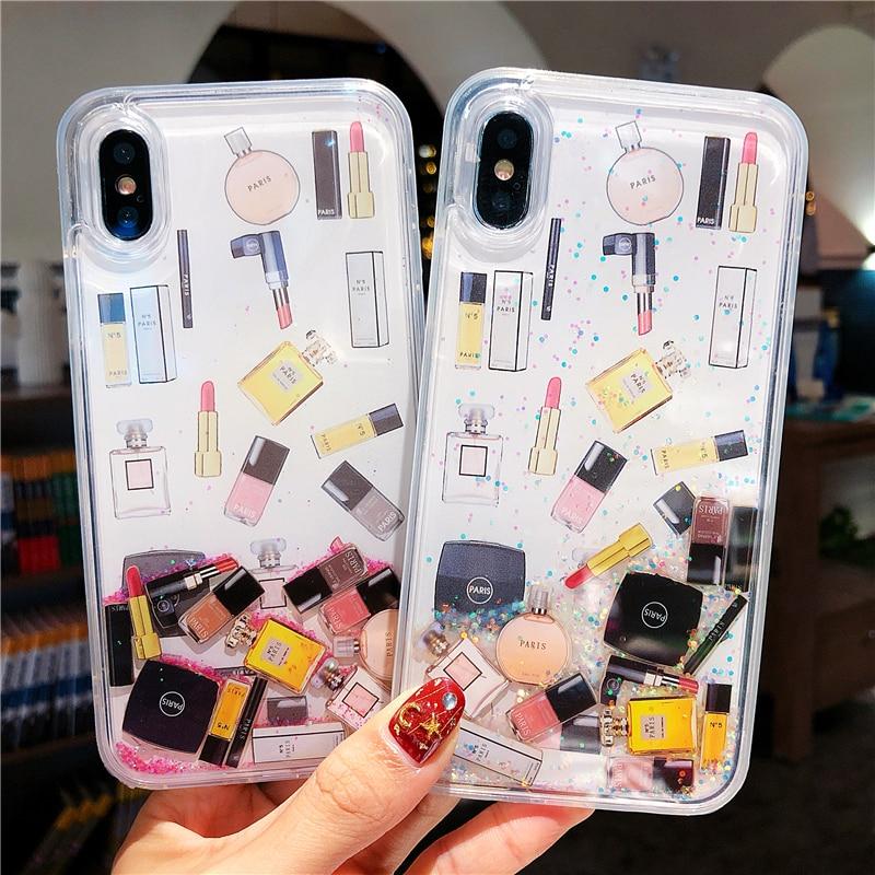Cosméticos de lujo arenas movedizas teléfono carcasa para iPhone 6S 7 8 Plusfor XS Max XR duro botella de perfume de lápiz de labios dinámica líquido cubierta coque