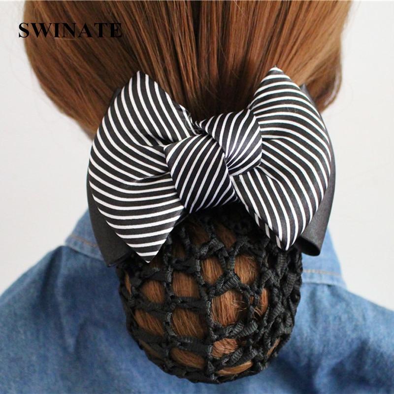 AliExpress - Multi Colors Women Striped Ribbon Bow Hair Bun Net Snood Crochet Net Bun Hair Cover Women Hair Accessories Office Lady Barrette