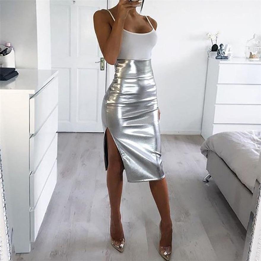 Женская модная однотонная облегающая юбка с высокой талией и эффектом пуш-ап, яркая кожаная юбка-карандаш серебристого цвета длиной до колена размера плюс
