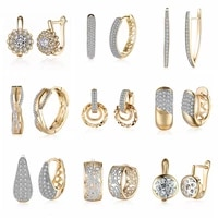 15 different style gold earrings hoops cubic zirconia geometric gold color big hoop earrings for women dropshippingwholesale