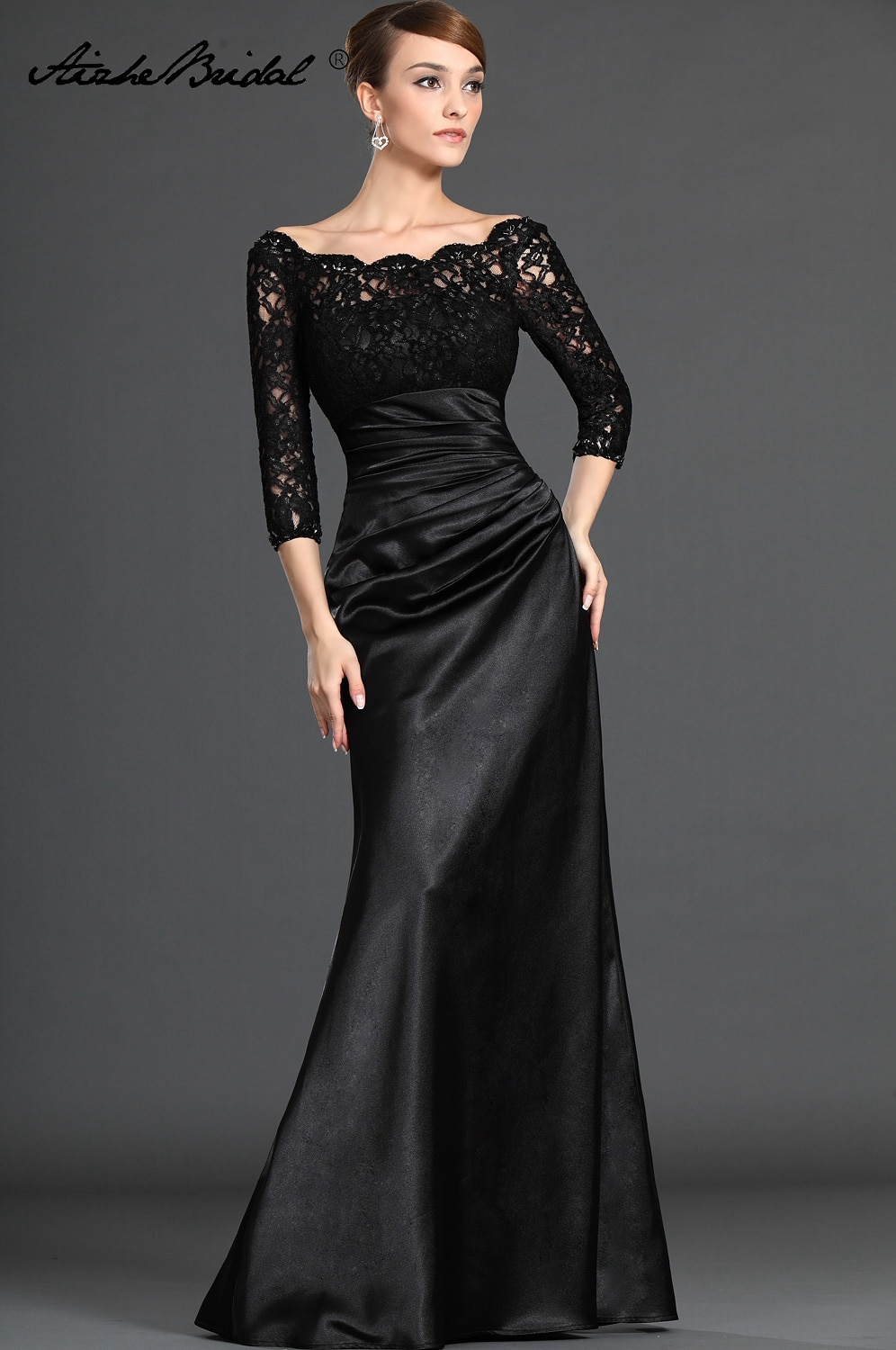 Mother Of The Groom Dresses Gorgeous A Line V Neck 3/4 Sleeve Black Lace of the Bride Dress