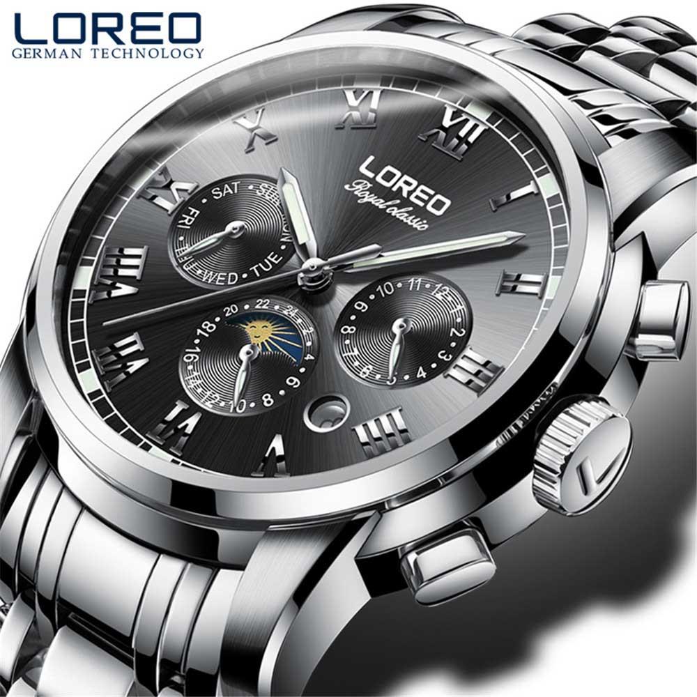 Marca de Luxo Fase da Lua Relógio do Esporte Completo à Prova Superior Loreo Relógios Casual Automático Mecânico Data Homem Negócios Aço Dwaterproof Água Men